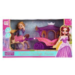 Карета для кукол, свет+звук, с куклой и лошадью SS031B в кор. в кор.2*24шт