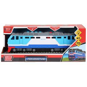 Машина свет+звук локомотив, 30см, пластик, 4 кнопки, инерц., синий в кор. Технопарк в кор.24шт