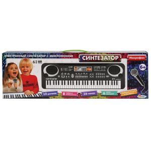 """Электронный синтезатор ТМ """"Играем вместе"""" на бат./220V, 61 клавиша, микрофон в кор. в кор.2*18шт"""