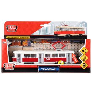 Машина металл Трамвай 18см, инерц. свет+звук, открыв. двери в русс. кор. Технопарк в кор.2*24шт