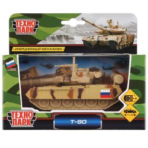 Модель металл Tанк T-90 металл 12см, инерц., подвиж. детали в русс. кор. Технопарк в кор.2*24шт