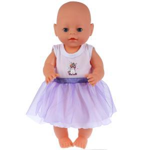 """Одежда для кукол 40-42 см, платье """"единорог"""" Карапуз в пак. в кор.100шт"""