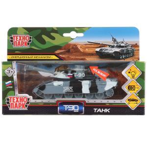 Машина металл танк t-90 13см, свет+звук, башня вращается, инерц. в кор. Технопарк в кор.2*24шт