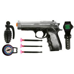 Набор полиция (пистолет, присоски, наручники, аксесс.) цвет в ассорт. в пак. в кор.2*144шт