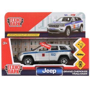 """Машина металл свет-звук """"jeep grand cherokee полиция"""" 12см, инерц., серебр. Технопарк в кор.2*36шт"""