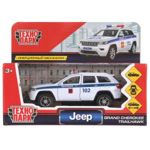"Машина металл ""jeep grand cherokee полиция"" 12см, инерц., белый в кор. Технопарк в кор.2*36шт"