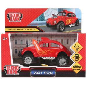 """Машина металл свет-звук """"хотрод"""", длина 12см, откр дв, инерц, красный, в кор. Технопарк в кор.2*36шт"""