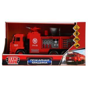 Машина металл Пожарная машина 21см, свет+звук, брызгает водой, инерц. в кор. Технопарк в кор.2*18шт