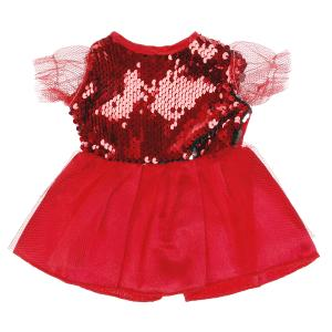 """Платье для куклы 40-42см, красно-желтое, с двусторонними пайетками в пак. """"Карапуз"""" в кор.100шт"""