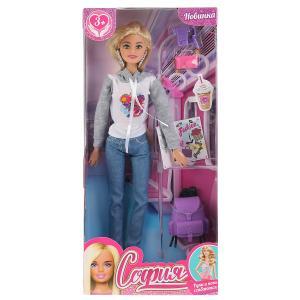 Кукла 29см София, с рюкзаком и аксесс., руки и ноги сгибаются в кор. София и Алекс в кор.24шт