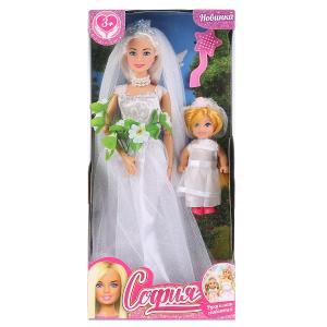 Кукла 29см София невеста с дочкой, с акс., руки и ноги сгибаются в кор. София и Алекс в кор.24шт