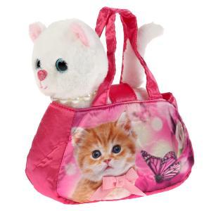 Мягкая игрушка кошка с ожерельем 18см в сумочке , в пак МОЙ ПИТОМЕЦ в кор.24шт