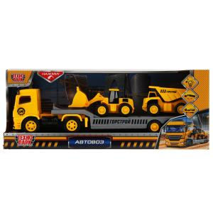 """Машина свет+звук """"тягач автовоз"""" стройка, 34,5см, пластик, инерц. в кор. ТМ Технопарк в кор.2*18шт"""