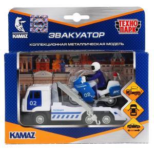 Машины металл Камаз эвакуатор 12см, инерц., откр. двери + мотоцикл 7,5см в кор Технопарк в кор2*24шт