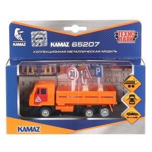 Машина металл Камаз 12см, инерц., откр.двери и багажник, +дорожные знаки в кор Технопарк в кор2*24шт
