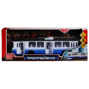 Пластик троллейбус 31,5см, открыв. двери, свет+звук, инерц. в кор. Технопарк в кор.2*12шт