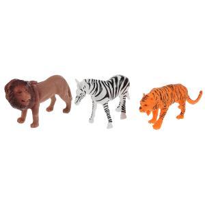 Игрушка пластизоль животные африки 3шт (лев, зебра, тигр) в пак. Играем вместе в кор.2*180наб