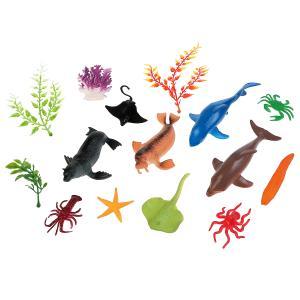 Игрушка пластизоль подводный мир 11 животных +4 водоросли ИГРАЕМ ВМЕСТЕ в кор.2*72наб