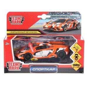 """Машина металл свет-звук """"спорткар"""" 12см, откр.двери, инерц., оранжевый в кор. Технопарк в кор.2*36шт"""
