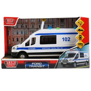"Машина свет+звук ""ford transit полиция"" 22,5см, пластик, откр.двери, инерц. Технопарк в кор.2*18шт"