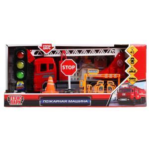 """Машина свет+звук """"пожарная машина"""" 23см, пластик, инерц., светофор+знаки в кор Технопарк в кор2*12шт"""