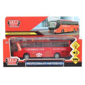 """Модель металл свет-звук """"рейсовый автобус"""", длина 16см, инерц. в русс. кор. Технопарк в кор.2*30шт"""