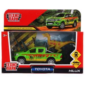 "Машина металл ""toyota hilux сафари"" 12см,откр.двери,инерц, с динозавром в кор. Технопарк в кор2*36шт"