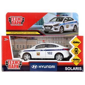 """Машина металл """"hyundai solaris полиция"""" 12см, откр.двери, инерц, белый в кор. Технопарк в кор.2*36шт"""