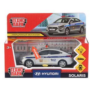 """Машина металл свет-звук """"hyundai solaris полиция"""" 12см,инерц.,серебристый. Технопарк в кор.2*36шт"""