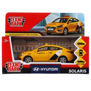 Машина металл hyundai solaris такси 12см, открыв. двери, инерц.желтый в кор. Технопарк в кор.2*36шт