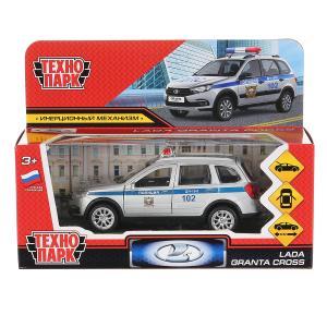 """Машина металл """"lada granta cross 2019 полиция"""" 12см, инерц.серебристый в кор. Технопарк в кор.2*36шт"""