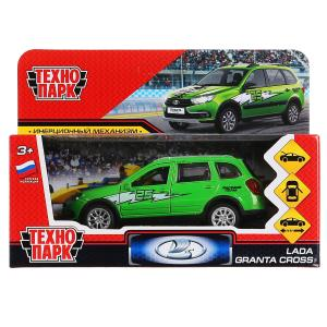 """Машина металл """"lada granta cross 2019 спорт"""" 12см, инерц., зеленый в кор. Технопарк в кор.2*36шт"""