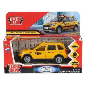 """Машина металл """"lada granta cross 2019 такси"""" 12см, инерц., желтый в кор. Технопарк в кор.2*36шт"""
