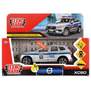 """Машина металл свет-звук """"volvo xc60 r-desing полиция"""" 12см,инерц,серебристый. Технопарк в кор.2*36шт"""