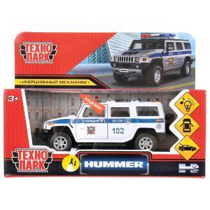 """Машина металл свет-звук HUMMER """"hummer h2 полиция"""" 12см, инерц., белый в кор. Технопарк в кор.2*36шт"""