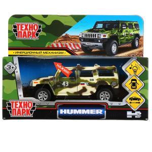 """Машина металл свет-звук """"hummer h2 камуфляж"""" 12см, инерц., зеленый в кор. Технопарк в кор.2*36шт"""