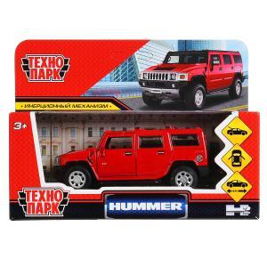 """Машина металл """"hummer h2"""" 12см, открыв. двери, инерц., красный в кор. Технопарк в кор.2*36шт"""