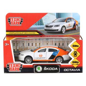 "Машина металл ""skoda octavia каршеринг"" 12см, откр.двери, инерц., белый в кор. Технопарк в кор2*36шт"