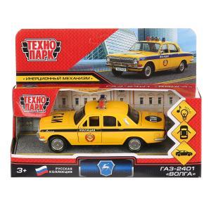 """Машина металл свет+звук """"газ-2401 волга полиция"""" 12см, инерц., желтый в кор. Технопарк в кор.2*36шт"""