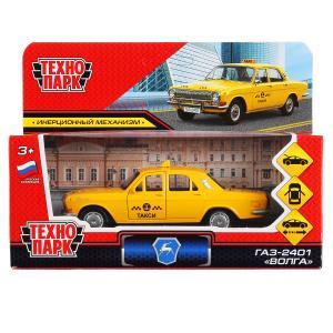"""Машина металл """"газ-2401 волга такси"""" 12см, открыв.двери, инерц., желтый в кор. Технопарк в кор2*36шт"""