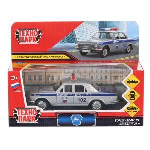 """Машина металл """"газ-2401 волга полиция"""" 12см, инерц., серебристый в кор. Технопарк в кор.2*36шт"""
