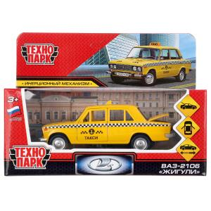 "Машина металл ""ваз-2106 жигули такси"" 12см, откр.двери, инерц., желтый в кор. Технопарк в кор.2*36шт"