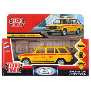 Машина металл ваз-2104 жигули медслужба 12см, инерц., желтый в кор. Технопарк в кор.2*36шт