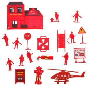 Набор солдатиков с инструментами пожарные (вертолет,фигурка,аксесс) в пак Играем вместе в кор2*100шт