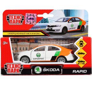 Машина металл SKODA rapid каршеринг 12см, откр.двери, багажник, инерц. в кор. Технопарк в кор.2*24шт