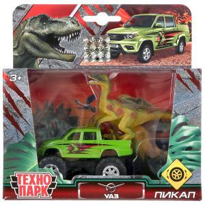 Машина металл UAZ ПИКАП, 7,5 см + динозавр 9 см, кор. Технопарк в кор.2*24шт
