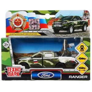 Машина металл FORD ranger, 12 см, дв., баг., инер.+солд. 4,5 см, в  ассорт. Технопарк в кор.2*24шт