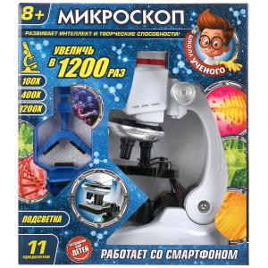 """Игрушка """"школа ученого"""" микроскоп с подстветкой+насадка для смартфона в кор. в кор.2*18шт"""