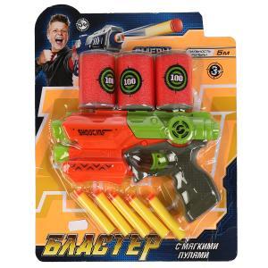 Бластер - тир с мягкими пулями, банками на блистере Играем вместе в кор.2*36шт