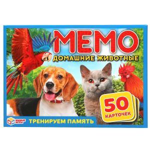 Домашние животные. Карточная игра мемо. (50 карточек). Тренируем память. Умные игры в кор.50шт